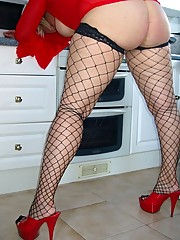 Housewife in red sheer dress and fuck me heels
