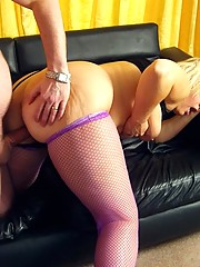 Milf in stockings sucking and fucking her neighbour
