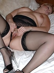 Voluptuous wife in nylon teddy and stockings