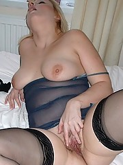 Horny wife in sheer nightie and stockings