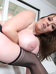 Busty MILF with gigantic freaky boobs gets pounded hard!