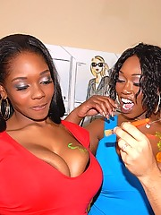 Check out this hot big titty 3some of black asses and pussy getting fucked after some fun painting eachother