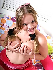 Natural teenie with braces showing her huge teenage boobs