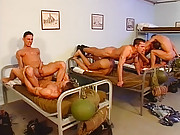 Military men get pumped in the ass