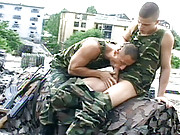 Young stud Patrick Kacer is patrolling a rooftop with a fellow soldier, sinewy stud Michael Sarlo. Kacer puts down his rifle for a hot make-out session with Sarlo, which leads to erections buried under the uniforms. But it doesn