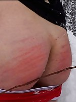 Winter spanking session for hot boy tied to a tree