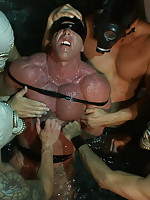 Derek Pain gets tied up and beaten at the Steamworks Chicago.