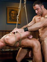 Spencer Reed gives Zach Alexander a hard bondage fuck in a bar.