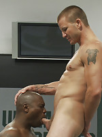 Two heavyweight fighters slam each other into the mat in an all out battle for sexual domination.