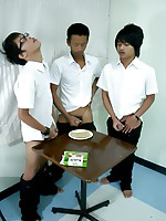 16 photos of three Thai twinks jerking off and cumming on crackers.