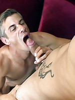 Tattooed boy stretches old gay ass