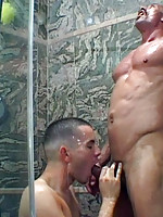 Sexy lad takes old dick in shower