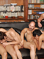 Gay boys and dads enjoy group slurping and pumping