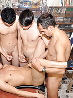 Gay lads nailed and jizzed in a boy-on-dad orgy