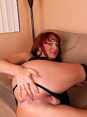 Busty transsexual Wendy gets her asshole drilled by Flex