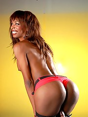 Chocolate Tgirl Natassia Dreams Exposing Herself