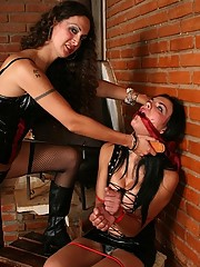 Mistress Nikki with a scared t-babe slave Laisa Lins