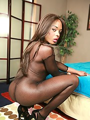 Horny ebony shemale Lina posing in hot fishnet costume