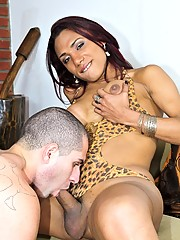 Two horny & naughty trannies having fun with a guy