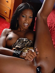 Horny ebony TS toying her tight wet asshole