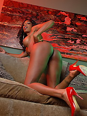 Transsexual ebony hotness Natassia Dreams wants to be your valentine