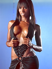Ebony tgirl Natassia Dreams posing in black sexy dress