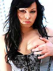 Adrianna is an LA t-girl who has a bad girl look to her. With her breasts popping out of her corset and her jet black hair, Adrianna is definitely someone you want to get down and dirty with!