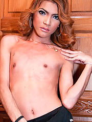 Benz is a pretty with natural breasts and a huge uncut cock