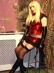 Dominatrix Candi wearing full pvc fuck me outfit