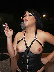 brunette shemale mistress smoking