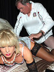 Tgirl Kim gets sucked and fucked by one of her lucky fans