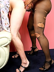 Poor Danny made a bet (and lost), so tranny Mistress Jada is here to issue the punishment. It comes in the form of dressing him up as a girl and then fucking him with her massive black cock!