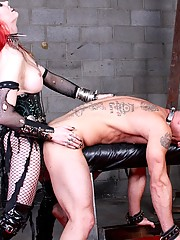 Mistress Tempest has a new surprise for sissy boy Paul. She teases him as she straps the spiked cock plate to his waist and then starts to grind on him in a whole new way.