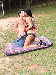 Marcela Italy gets fucked outdoors by stud Victor