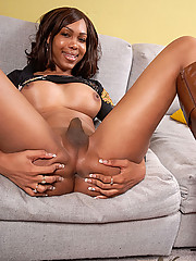 Big titty hung black shemale jerks her cock