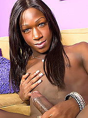 Gorgeous black tgirl China in purple