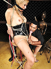 Blonde tranny enslaved and man handled
