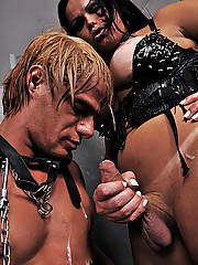 Dominant shemale and her man pet slave