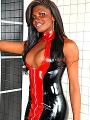 Hung black ts in red and black latex