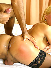 Check out this hot horny blonde tranny suck a hard black cock then get her ass slammed on the bed and fucked hard in this hot update