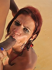 Hot big ass red head tranny gets her brazilian hole fucked hard in the beach then takes a load to the face in these hot pics