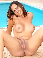 Watch this hot ass tranny get her big dong sucked and cum faced in these hot anal fucking pics
