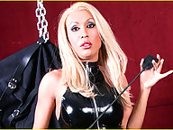 Jake is in trouble. Mistress Monica hung him up in her brand new body bag and leaves him to think about all the bad things he has done. When she returns he is lying on the floor and telling her that he fell