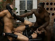Horny transsexual gets fucked hard by two guys