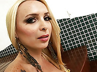 Sweet tgirl Erika playing with herself in the bathroom
