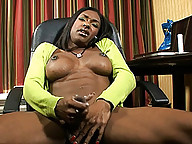 Sexy ebony transsexual Natalia Coxxx playing with herself