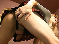 Filthy transsexual schoolgirl playing with you