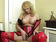 Sexy mature blonde shemale alone and horny