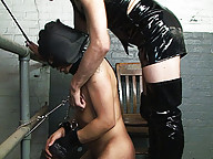 Tranny domme forces her slave to suck and fuck