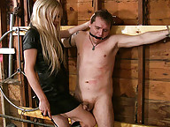 TS domme Jesse ravages her slaves mouth and ass